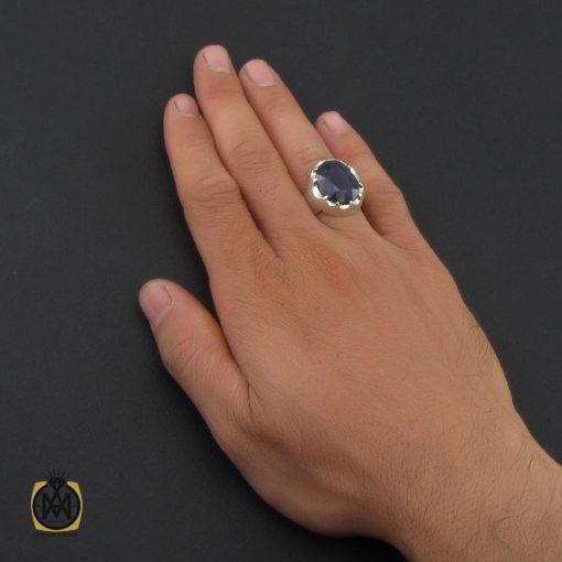 انگشتر یاقوت کبود مرغوب مردانه هنر دست استاد باقرزاده - کد 10043 - 5 240 510x510