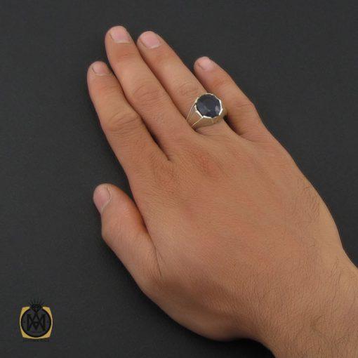 انگشتر یاقوت کبود خوش رنگ مردانه دست ساز - کد 10045 - 5 242 510x510