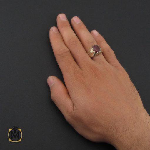 انگشتر یاقوت سرخ خوش رنگ مردانه هنر دست استاد باقرزاده - کد 10047 - 5 244 510x510