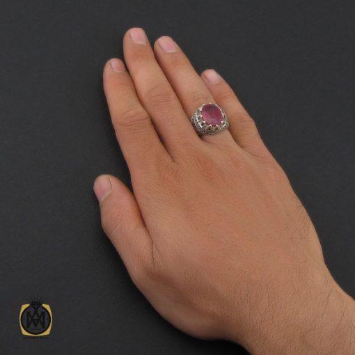انگشتر یاقوت سرخ خوش رنگ مردانه هنر دست استاد مغان – کد ۱۰۰۴۸