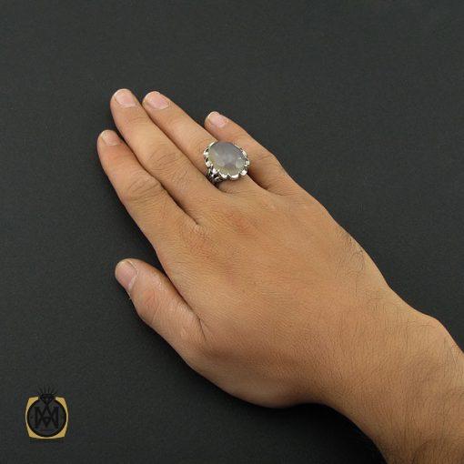 انگشتر عقیق یمن کبود الماس تراش مردانه - کد 8852 - 5 54 510x510