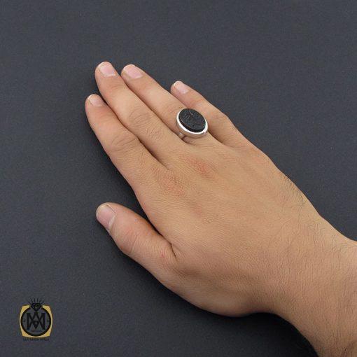 انگشتر عقیق جزع یمن با حکاکی حسبی الله مردانه دست ساز - کد 8858 - 5 60 510x510