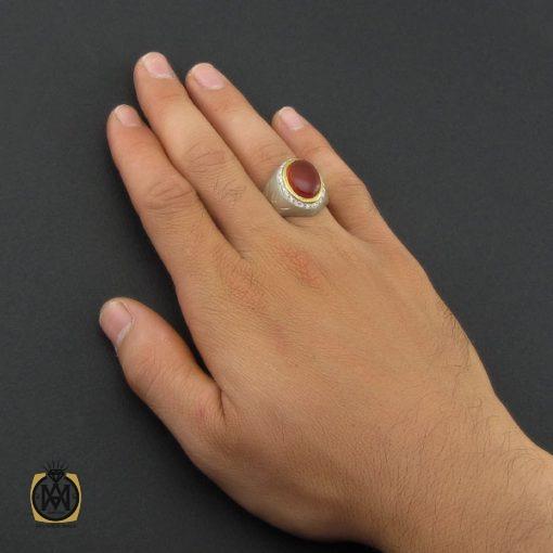 انگشتر عقیق یمن خوش رنگ مردانه دست ساز - کد 8877 - 5 79 510x510