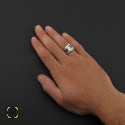 انگشتر عقیق یمن، دُر نجف و یاقوت سرخ مردانه دست ساز – کد 8806 - 5 8 510x510