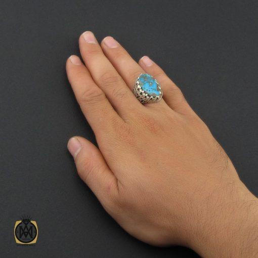 انگشتر فیروزه نیشابوری خوش طبع مردانه دست ساز – کد ۸۸۸۵
