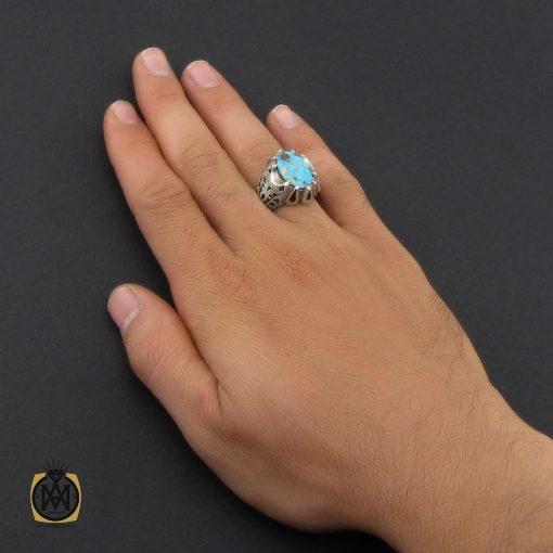 انگشتر فیروزه نیشابوری مردانه دست ساز - کد 8886 - 5 89 510x510