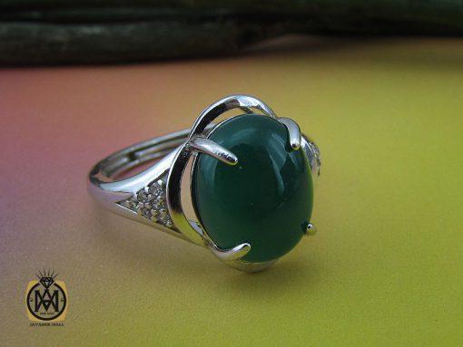 انگشتر عقیق سبز زنانه خوش رنگ طرح سبا - کد 2117 - 00 141 510x383