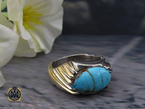 انگشتر فیروزه نیشابوری مردانه طرح صفوی دست ساز - کد 10084 - 00 20 510x383