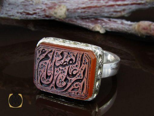 انگشتر عقیق یمن با حکاکی یا دائم الفضل علی بریه مردانه - کد 10186 - 00 279 510x383