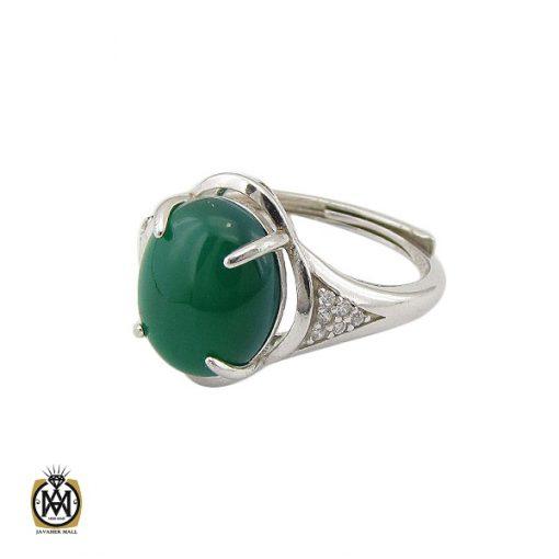 انگشتر عقیق سبز زنانه خوش رنگ طرح سبا – کد ۲۱۱۷