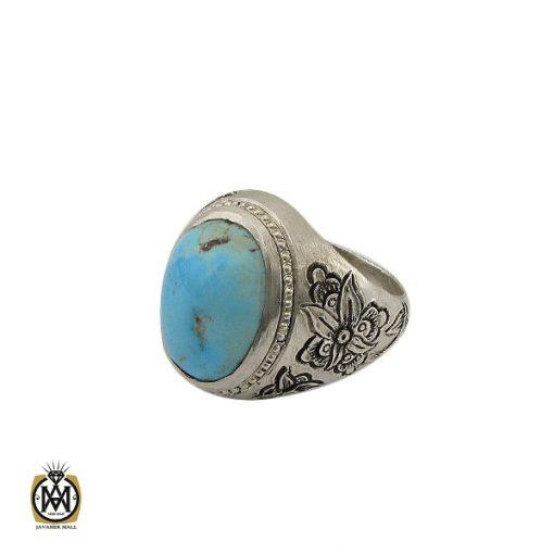انگشتر فیروزه نیشابوری قلم زنی مردانه - کد 10081 - 1 18 510x510