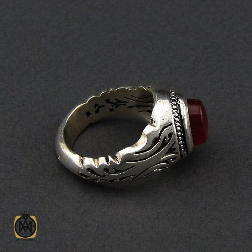 انگشتر عقیق یمن خوش رنگ مردانه دست ساز - کد 10143 - 2 109 510x510