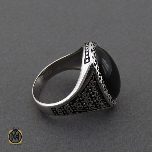 انگشتر عقیق مشکی مردانه - کد 10156 - 2 230 510x510