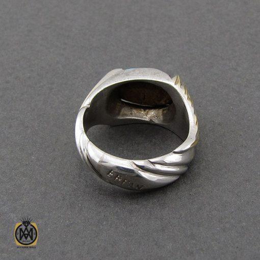 انگشتر فیروزه نیشابوری مردانه طرح صفوی دست ساز - کد 10084 - 3 21 510x510