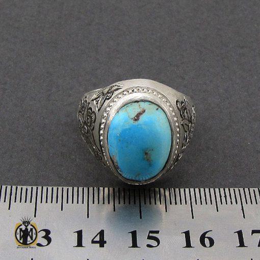 انگشتر فیروزه نیشابوری قلم زنی مردانه - کد 10081 - 4 18 510x510