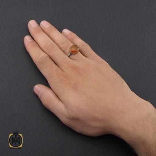 انگشتر عقیق یمن با حکاکی شرف الشمس مردانه - کد 10075 - 5 12 510x510