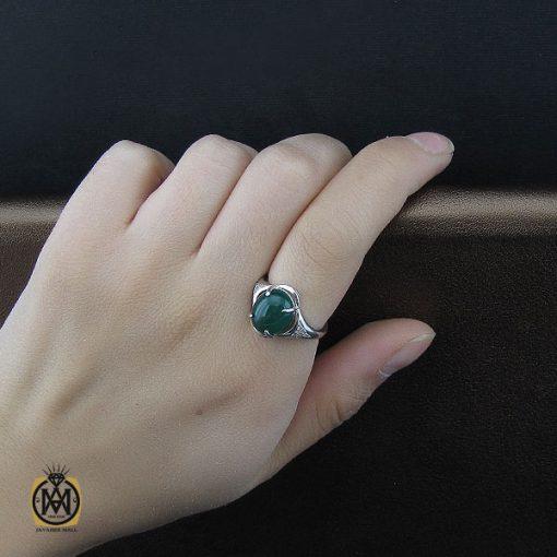 انگشتر عقیق سبز زنانه خوش رنگ طرح سبا - کد 2117 - 5 131 510x510