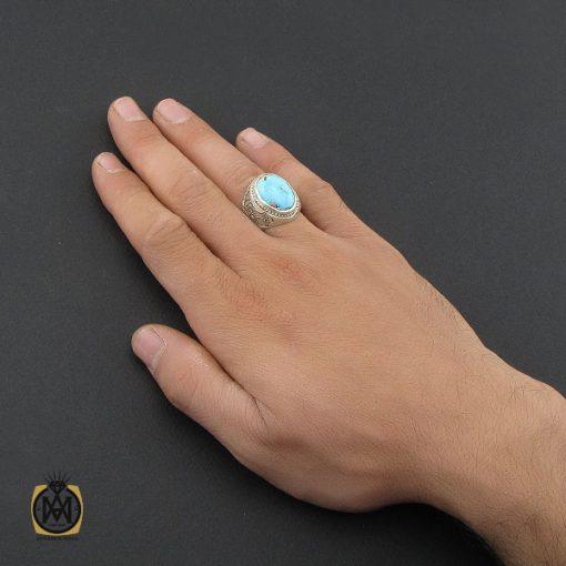 انگشتر فیروزه نیشابوری قلم زنی مردانه - کد 10081 - 5 18 510x510