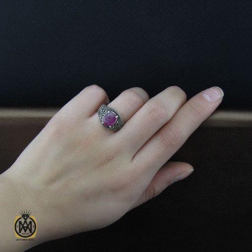 انگشتر یاقوت سرخ طرح شهگل زنانه - کد 2143 - 5 193 510x510