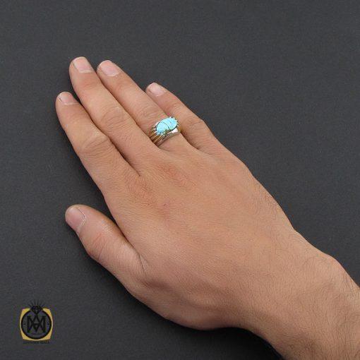 انگشتر فیروزه نیشابوری مردانه طرح صفوی دست ساز – کد ۱۰۰۸۴