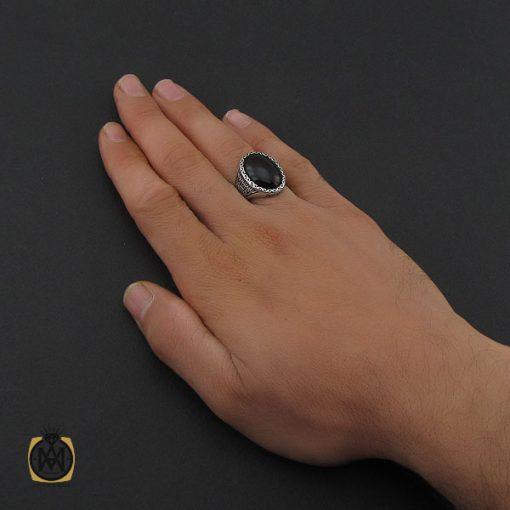 انگشتر عقیق مشکی مردانه – کد ۱۰۱۵۶