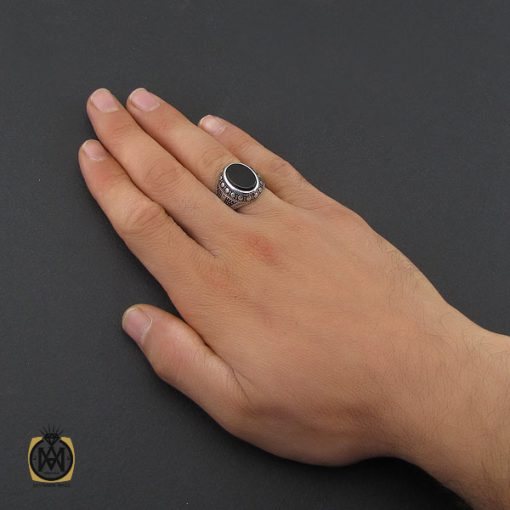 انگشتر عقیق مشکی مردانه – کد ۱۰۱۶۰