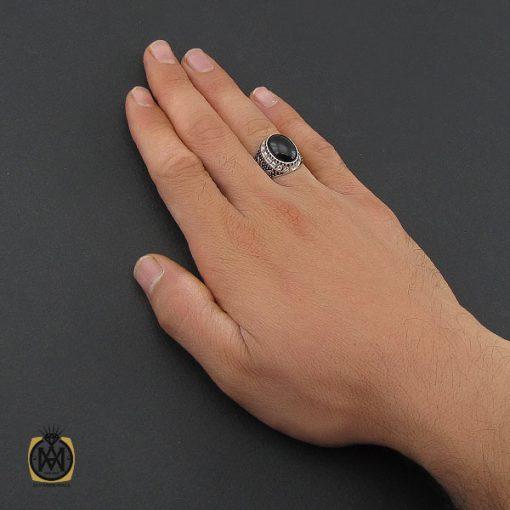 انگشتر عقیق مشکی مردانه - کد 10164 - 5 236 510x510