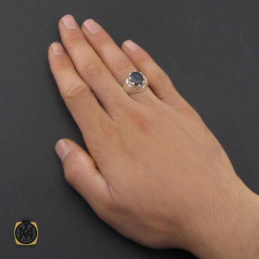 انگشتر یاقوت کبود مردانه مرغوب دست ساز - کد 10182 - 5 254 510x510