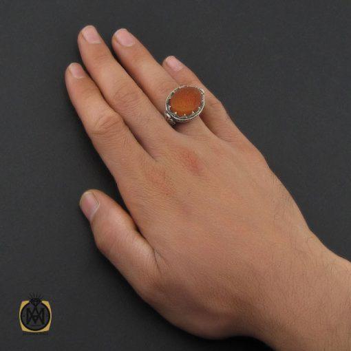 انگشتر عقیق یمن با حکاکی اللهم الرزقنی شفاعه الحسین مردانه استاد حیدر - کد 10189 - 5 261 510x510