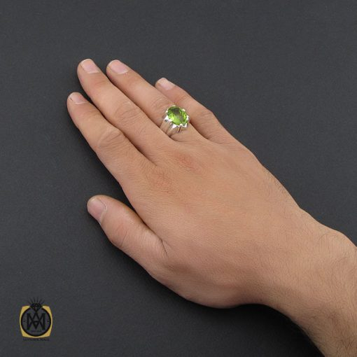 انگشتر زبرجد خوش رنگ مردانه - کد 10091