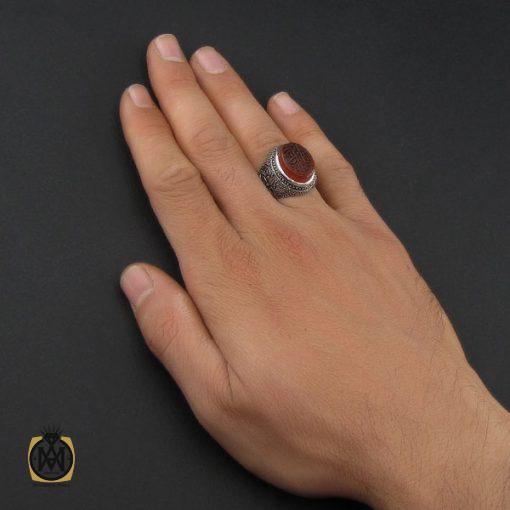 انگشتر عقیق یمن با حکاکی یا فاطمه قلمزنی مردانه - کد 10118 - 5 76 510x510