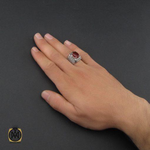 انگشتر عقیق یمن خوش رنگ و مارکازیت مردانه - کد 10137 - 5 93 510x510