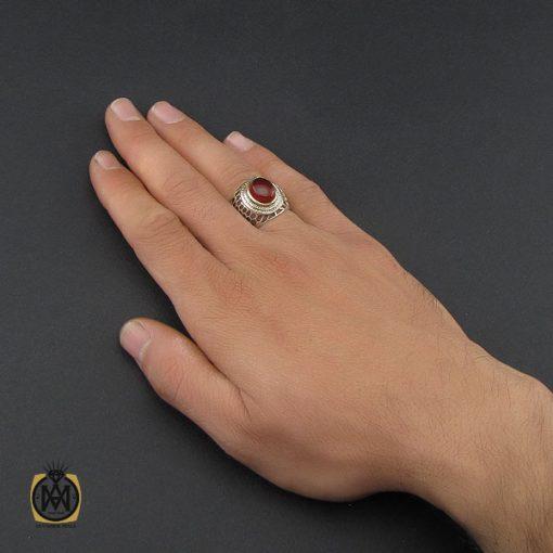 انگشتر عقیق یمن خوش رنگ مردانه - کد 10140 - 5 96 510x510