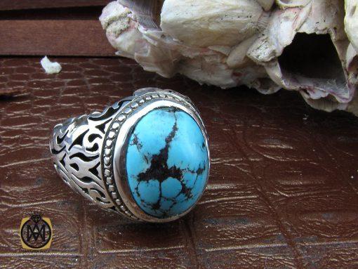 انگشتر فیروزه نیشابوری خوش رنگ مردانه دست ساز - کد 10282 - 00 107 510x383