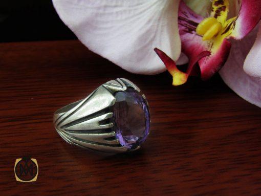 انگشتر آمتیست مردانه خوش رنگ و معدنی - کد 10210 - 00 12 510x383