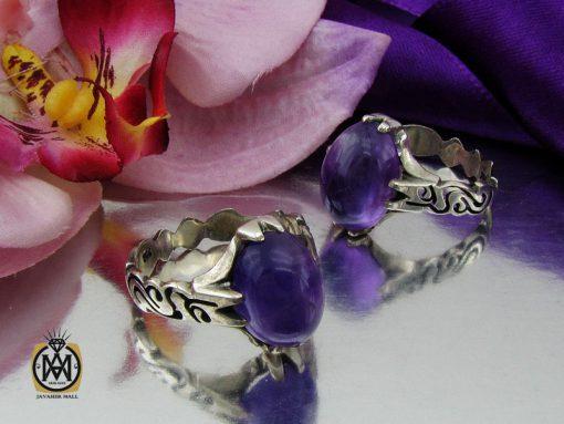 انگشتر آمتیست خوش رنگ مردانه - کد 10302 - 00 127 510x383