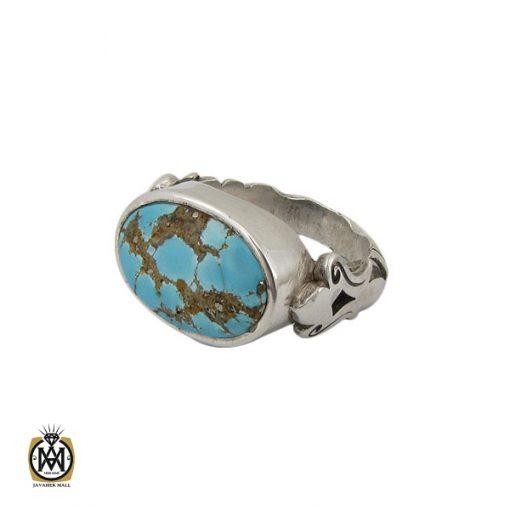 انگشتر فیروزه نیشابوری خوش رنگ مردانه دست ساز - کد 10281 - 1 105 510x510