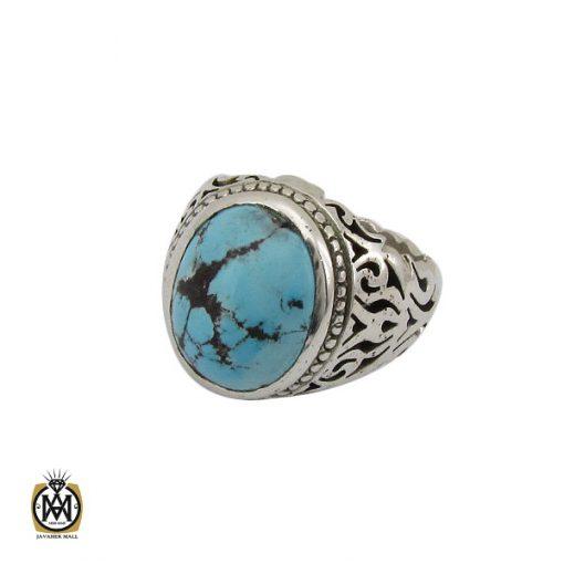 انگشتر فیروزه نیشابوری خوش رنگ مردانه دست ساز - کد 10282 - 1 106 510x510
