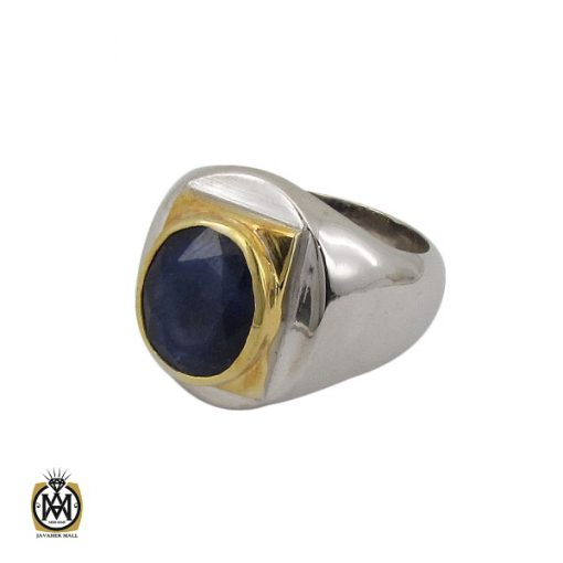 انگشتر یاقوت کبود خوش رنگ مردانه دست ساز - کد 10283 - 1 107 510x510
