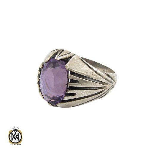 انگشتر آمتیست مردانه خوش رنگ و معدنی - کد 10210 - 1 11 510x510