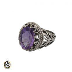 انگشتر آمتیست خوش رنگ مردانه - کد 10301