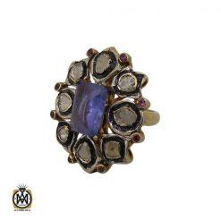 انگشتر الماس اصل و تانزانایت طرح گلشن زنانه - کد 2182 - 1 140 247x247