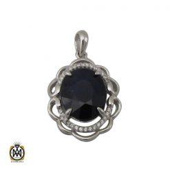 مدال یاقوت کبود زنانه طرح ماهک - کد 3096