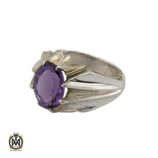 انگشتر آمتیست خوش رنگ مردانه دست ساز - کد 10331 - 1 177 510x510