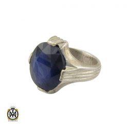 انگشتر یاقوت کبود خوش رنگ مردانه دست ساز - کد 10283 - 1 179 247x247
