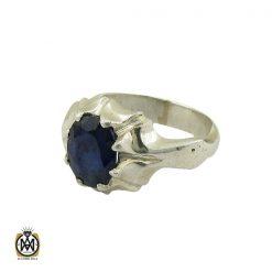 انگشتر یاقوت کبود خوش رنگ مردانه دست ساز - کد 10283 - 1 252 247x247