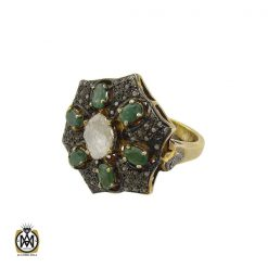 انگشتر الماس اصل و تانزانایت طرح گلشن زنانه - کد 2182 - 1 305 247x247