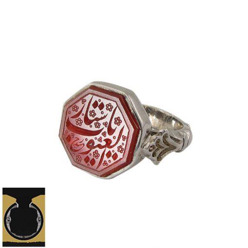 انگشتر عقیق یمن با حکاکی یا ستار العیوب دست ساز مردانه - کد 10232 - 1 57 510x510