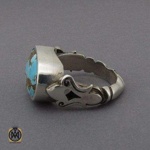 انگشتر فیروزه نیشابوری خوش رنگ مردانه دست ساز - کد 10281 - 2 105 510x510