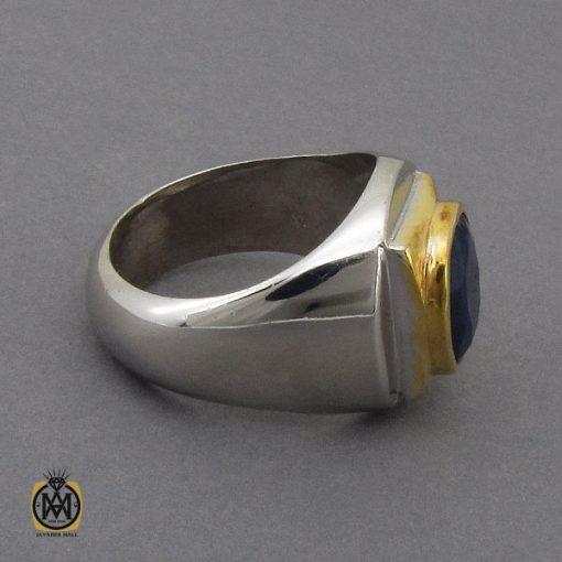 انگشتر یاقوت کبود خوش رنگ مردانه دست ساز - کد 10283 - 2 107 510x510